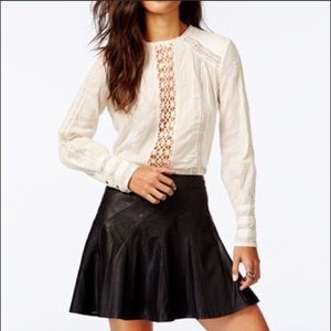Without You Button Back Crochet-Trim Top